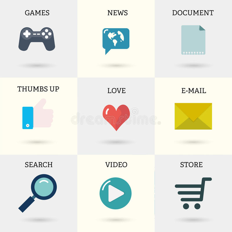 Icons set of internet instruments: document, mail, online shop, video, search, thumbs up, games, news in flat style with shadows vector illustration