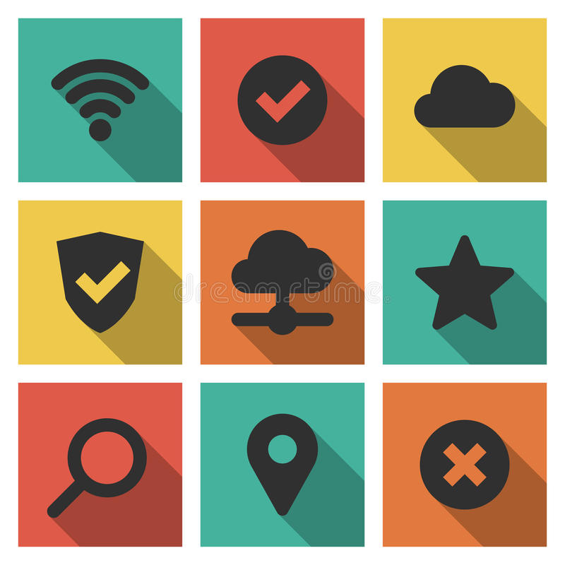 Icons set of internet and technology stock illustration