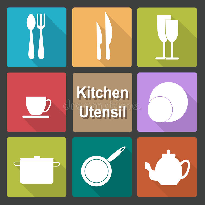 Icons set of kitchen utensil in flat design style - colored royalty free illustration