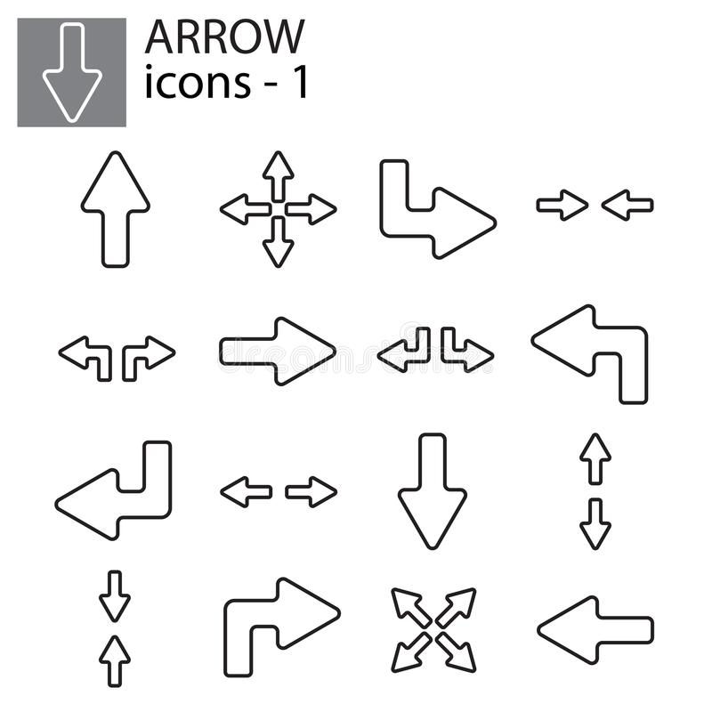 Icons set - Line arrows royalty free illustration