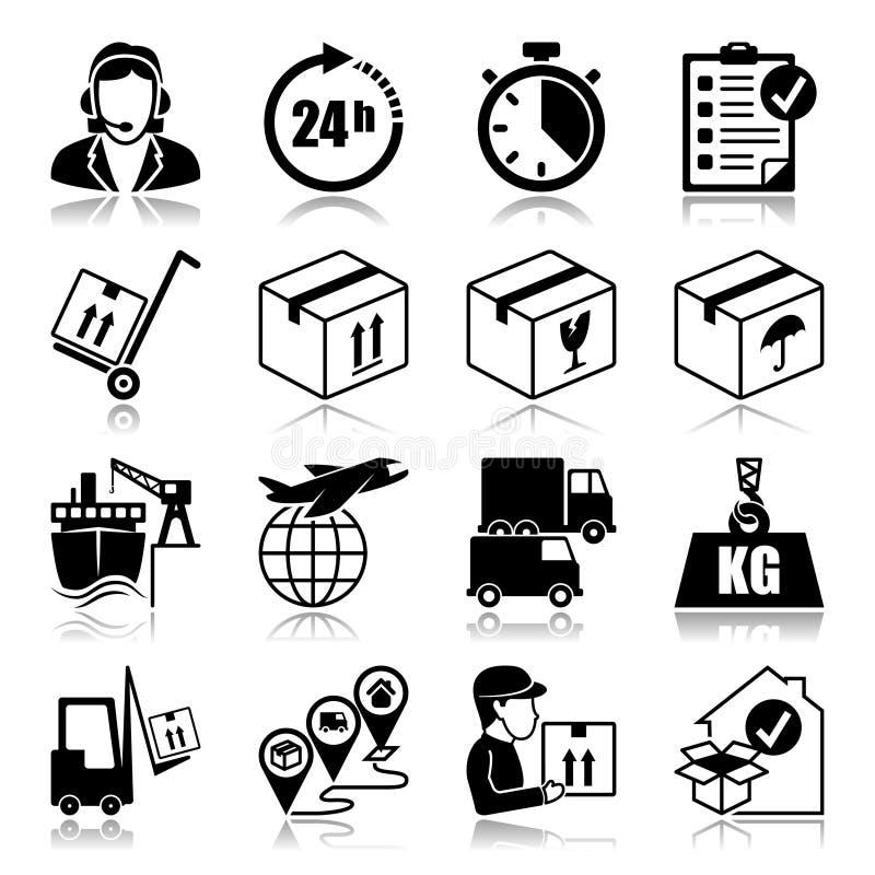 Icons set: Logistics. Icons set with reflection: Logistics stock illustration