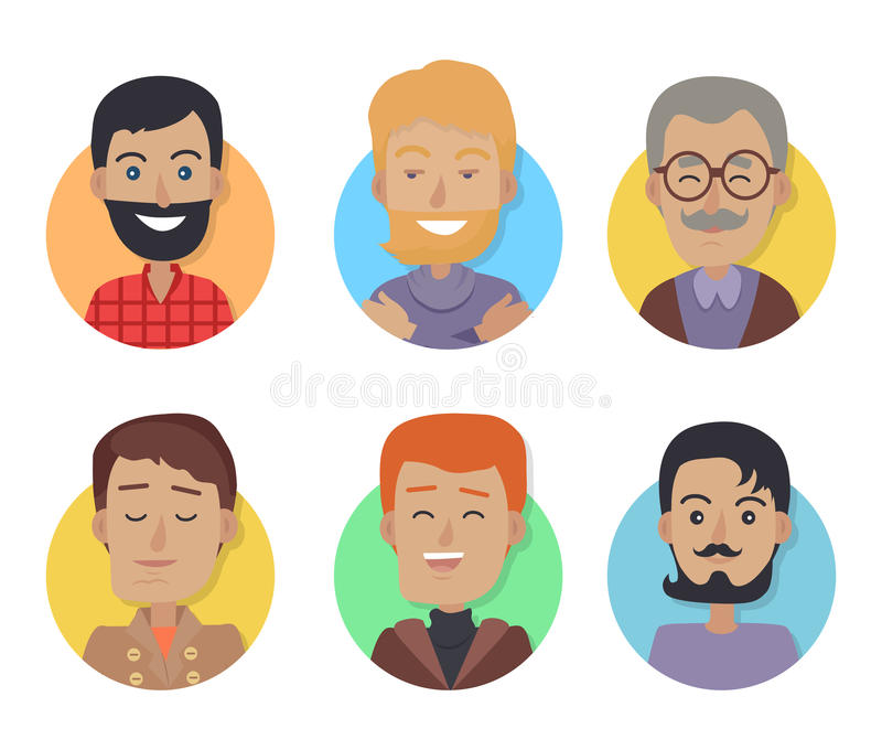 Icons Set of Men with Different Age, Hair Color vector illustration
