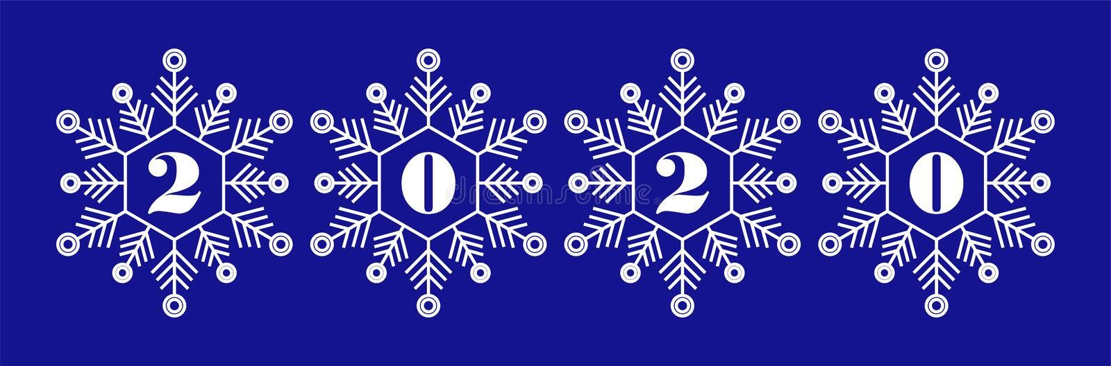 Icons set of 2020 numbers  on beautiful snowflakes, christmas theme for 2020 happy new year greetings design stock images