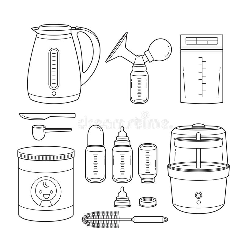 Free Icons Set Of Equipment For Feeding Baby, Outline Royalty Free Stock Image - 116706766