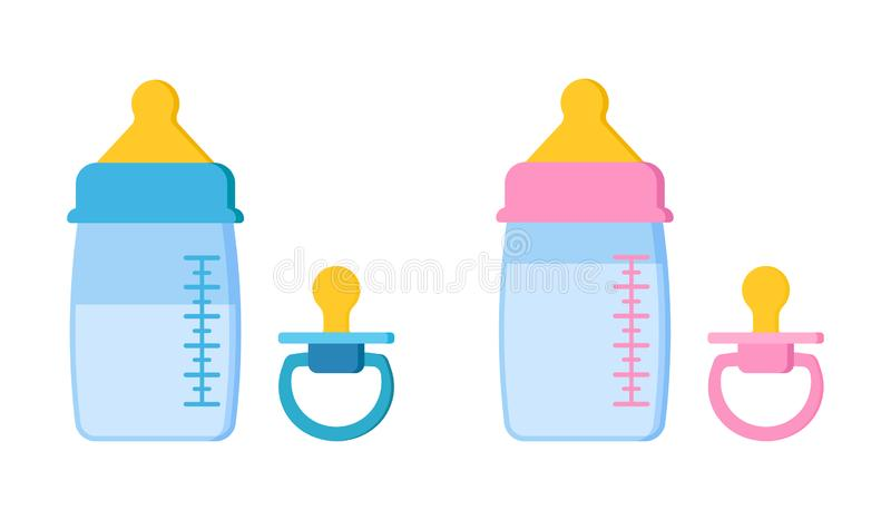 Icons set of pacifier baby dummy for newborn child and baby bottles. Icons set of pacifier baby dummy for newborn child and plastic or glass baby bottles with royalty free illustration