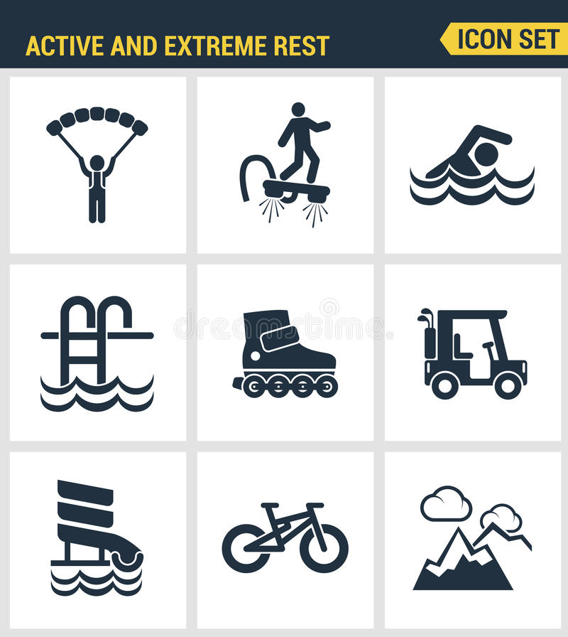 Icons set premium quality of active and extreme rest holiday weekend sports hobby life style. Modern pictogram collection flat des stock illustration