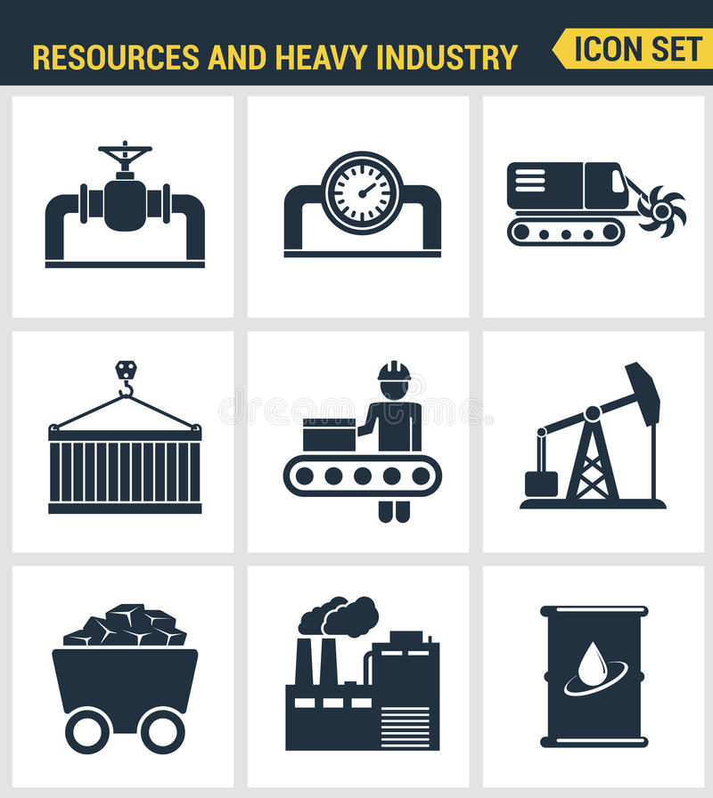 Icons set premium quality of heavy industry, power plant, mining resources. Modern pictogram collection flat design style symbol stock illustration