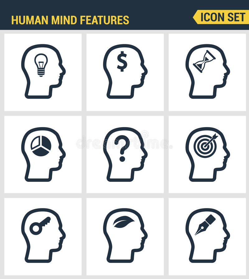 Icons set premium quality of human mind features, characters profile identity. Modern pictogram collection flat design vector illustration