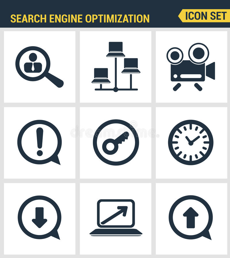 Icons set premium quality of search engine optimization tools for growth traffic. Modern pictogram collection flat. Design style symbol collection. white royalty free illustration