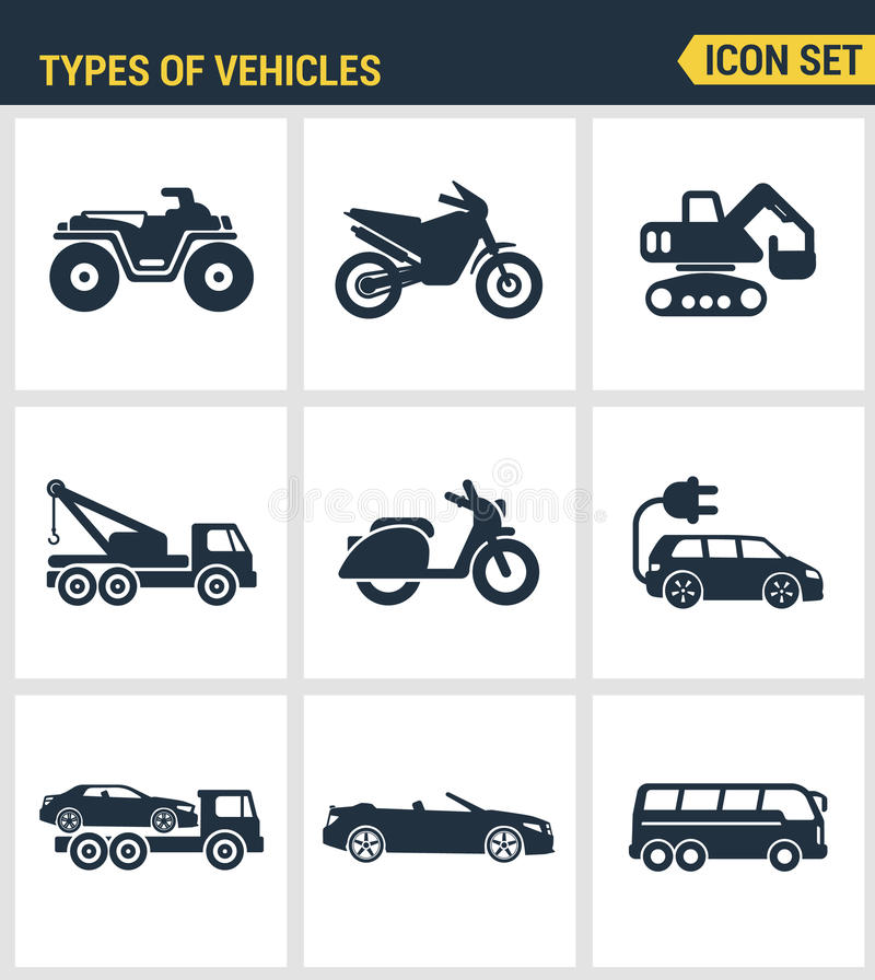 Icons set premium quality of types vehicles traffic car transport auto icon . Modern pictogram collection flat design vector illustration