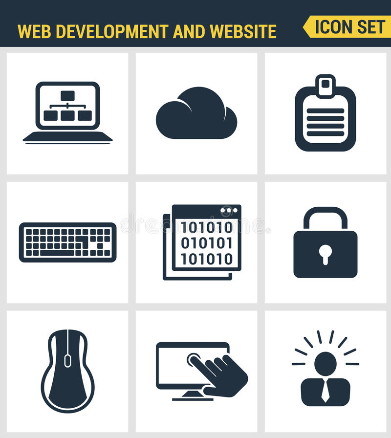 Icons set premium quality of web development and website programming process, webpage coding and user interface creating stock illustration
