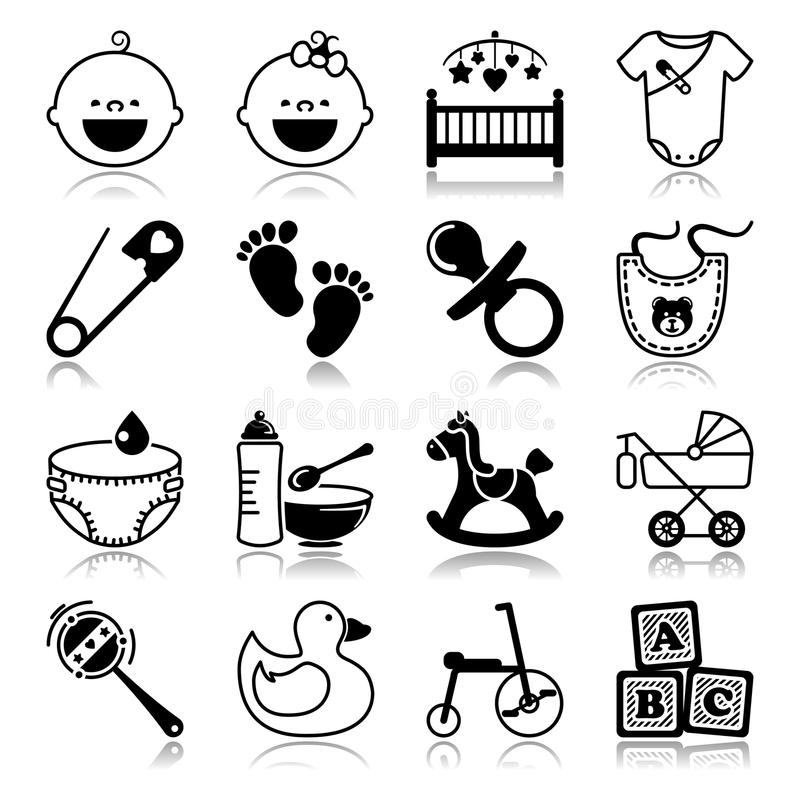Icons set with reflection: Babies. And toys concepts vector illustration