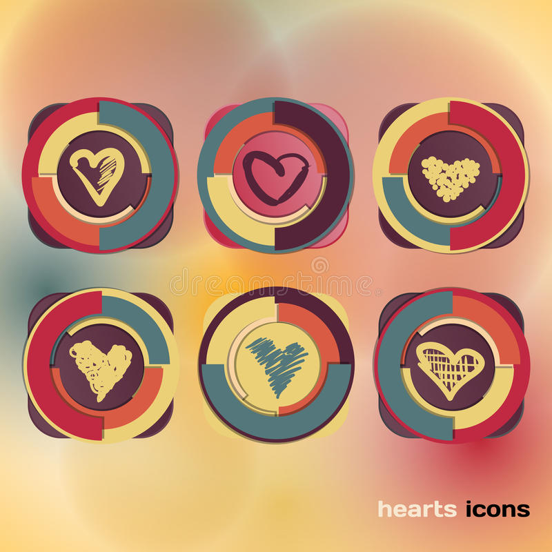 Download Icons Set Of Sketch Colored Hearts Stock Vector - Image: 39883011