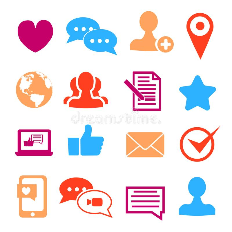 Icons set for social network and community sites. Flat vector illustration vector illustration