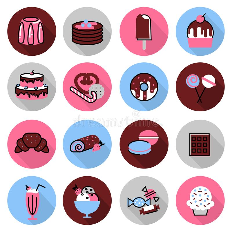 Icons set of sweet desserts. Modern flat thin line design vector illustration, icons set of sweet desserts, cakes, chocolates, and other, for graphic and web royalty free illustration