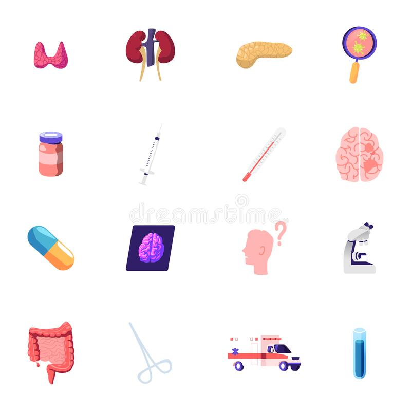 Free Icons Set Thyroid, Kidneys And Magnifier With Virus Cells, Medicine Bottle, Syringe And Thermometer, Brain Royalty Free Stock Photo - 184918615