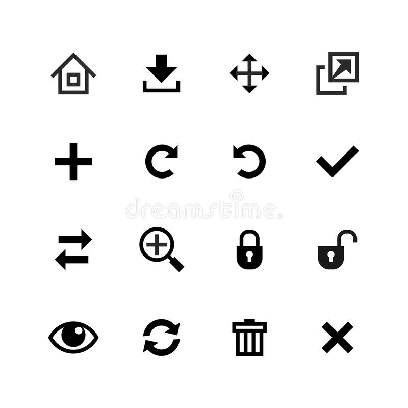 Icons set. Toolbar, edit and customize stock illustration