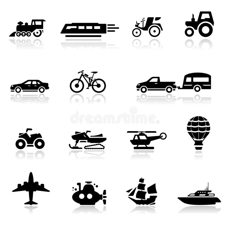 Icons set transportation. Simplified but well drawn Icons, smooth corners no hard edges unless it's required vector illustration