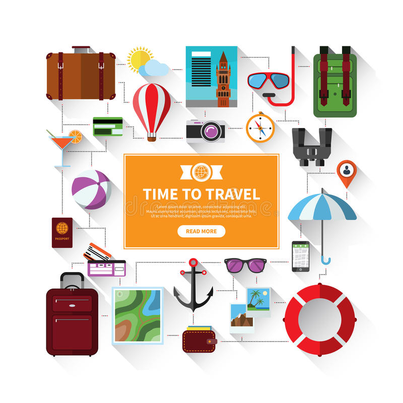 Icons set of traveling, tourism, summer vacation. Flat icons set of traveling, tourism, planning a summer vacation. Travel objects and passenger luggage. on stock illustration