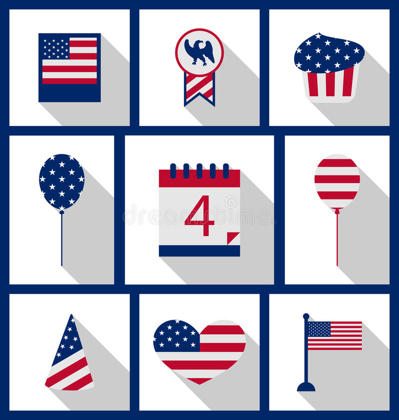 Icons Set USA Flag Color Independence Day 4th of July vector illustration