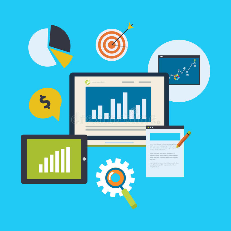 Icons set of website SEO optimization stock illustration