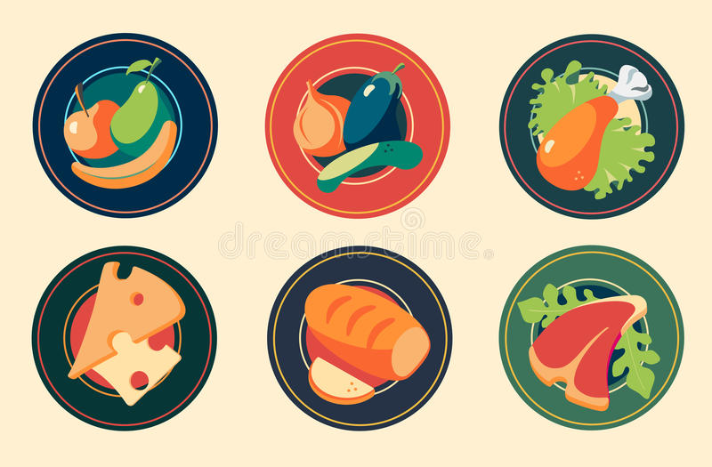 Icons. Sets of Flat Design Icons food. Vector stock photo