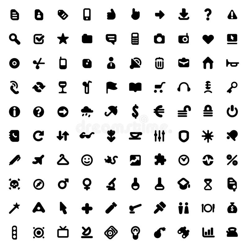 Icons and signs. Set of one hundred icons for website interface, business designs, finance, security and leisure. Vector illustration