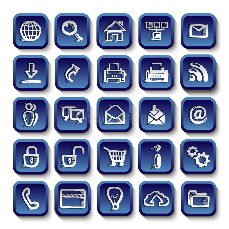 Icons sketches for the site. Isolated on white background stock illustration