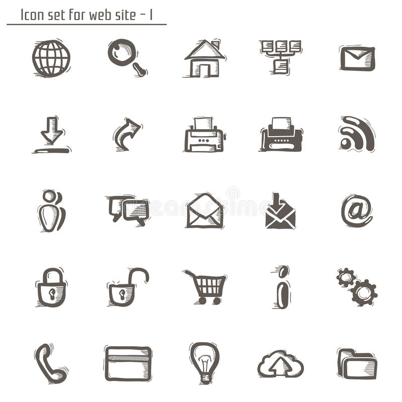 Icons sketches for the site vector illustration