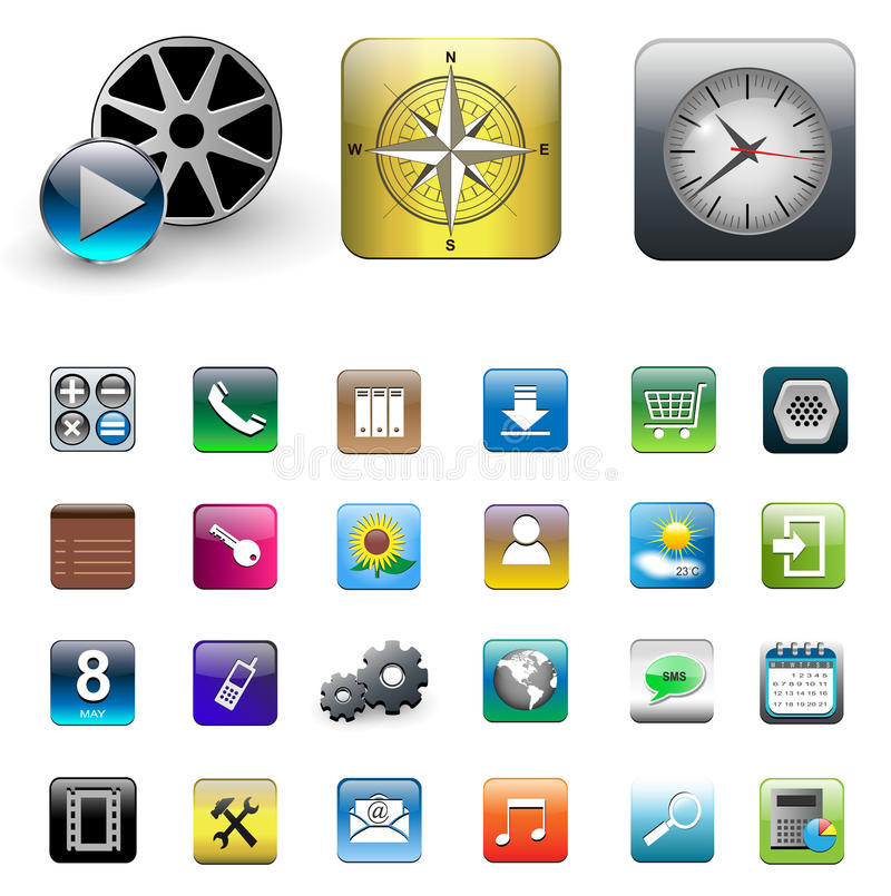 Download Icons for smartphone stock vector. Image of icon, file - 19565626
