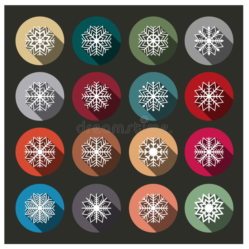 Icons of snowflakes, illustration. royalty free illustration