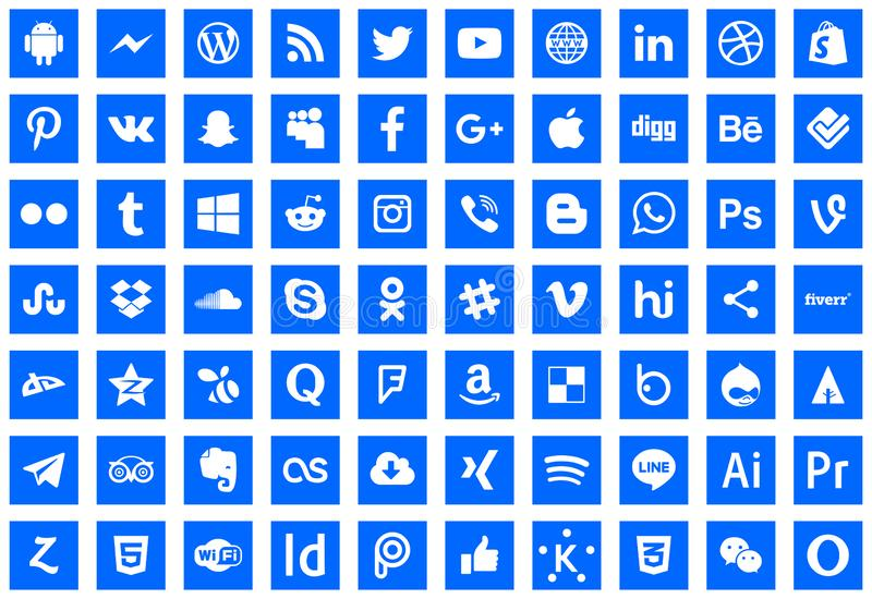 Icons social network series. Download icons social network series vector Blogger facebook twitter YouTube PayPal linkedin iPhone android Messenger Photoshop stock illustration