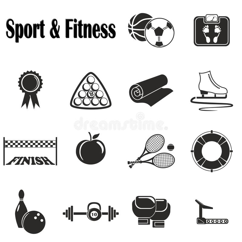 Icons Sport and Fitness stock photos