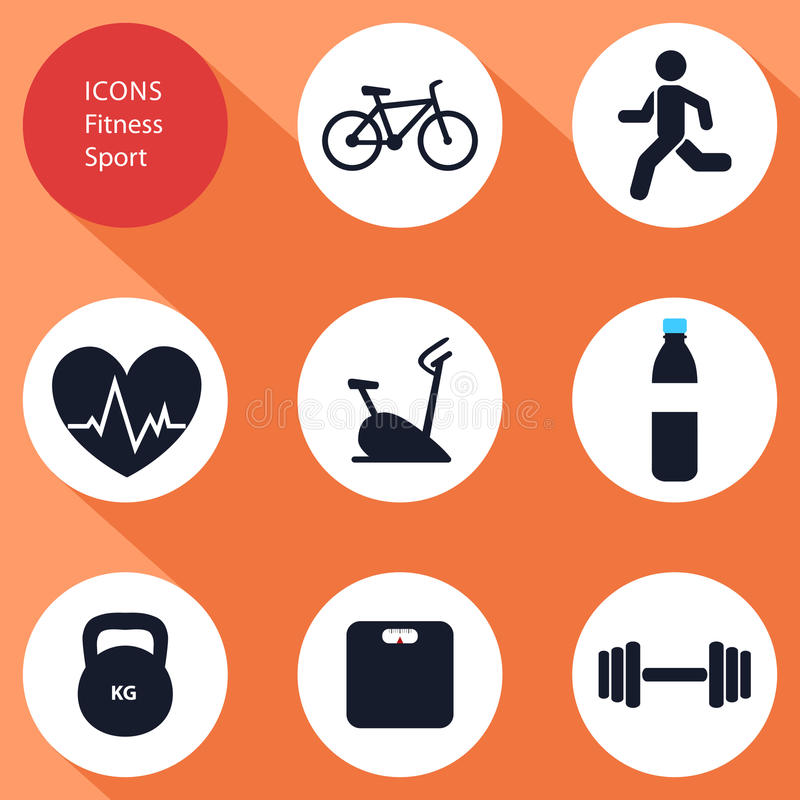 Icons, sports, fitness, flat design, royalty free illustration