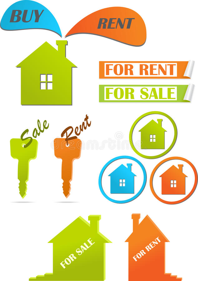 Icons and stickers for real estate stock illustration
