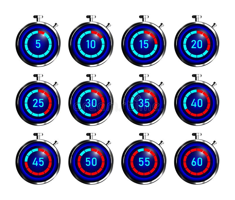 Set of stopwatch icons. Icons stopwatch on a white background. Vector illustration royalty free stock image