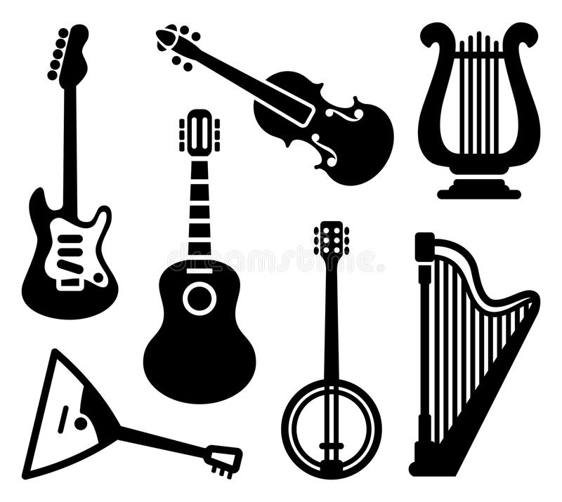 Icons Of String Musical Instruments Stock Vector Illustration Of