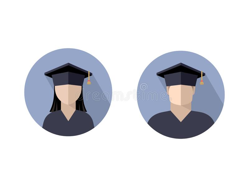 Icons of students a boy and a girl in a graduate cap. Color image in a circle, sign, logo, isolated vector illustration royalty free illustration