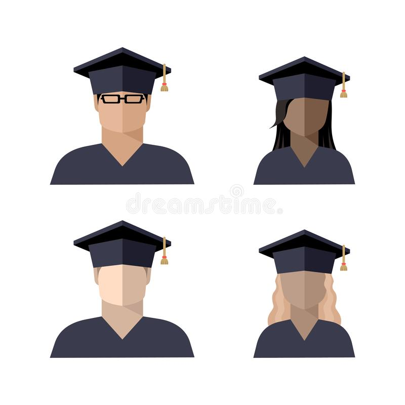 Icons of students a boy and a girl in a graduate cap. Color image, sign, logo, isolated vector illustration vector illustration