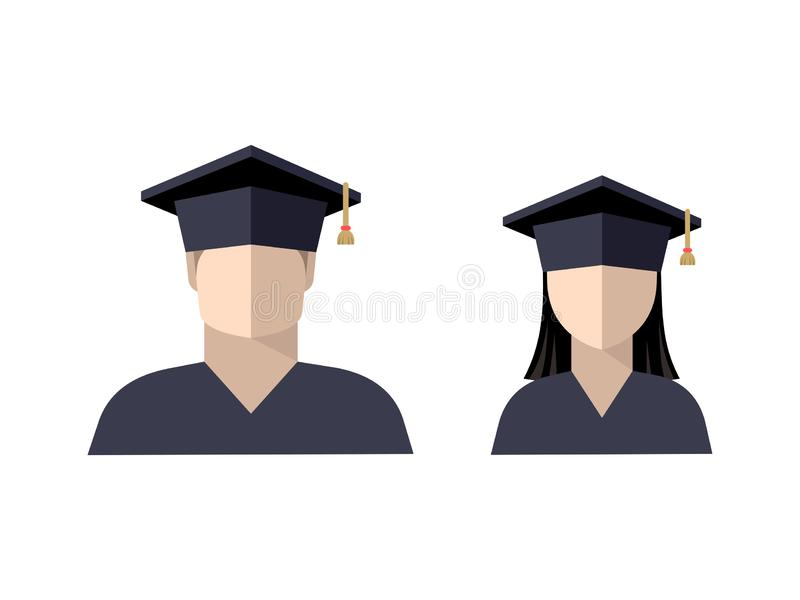 Icons of students a boy and a girl in a graduate cap, color image. Sign, logo, isolated vector illustration stock illustration