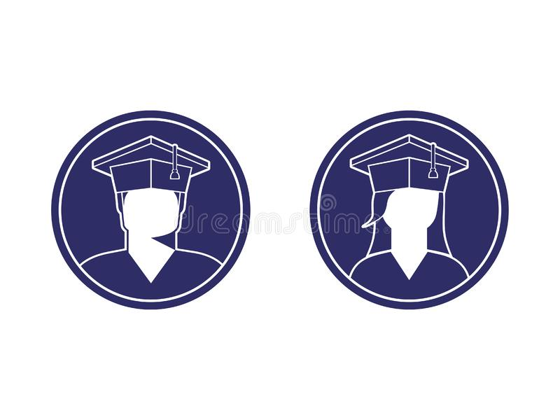 Icons of students a boy and a girl in a graduate cap, monochrome. Image in a circle, sign, logo, isolated vector illustration vector illustration
