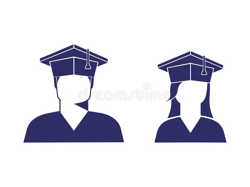 Icons of students a boy and a girl in a graduate cap, monochrome. Image, sign, logo, isolated vector illustration stock illustration