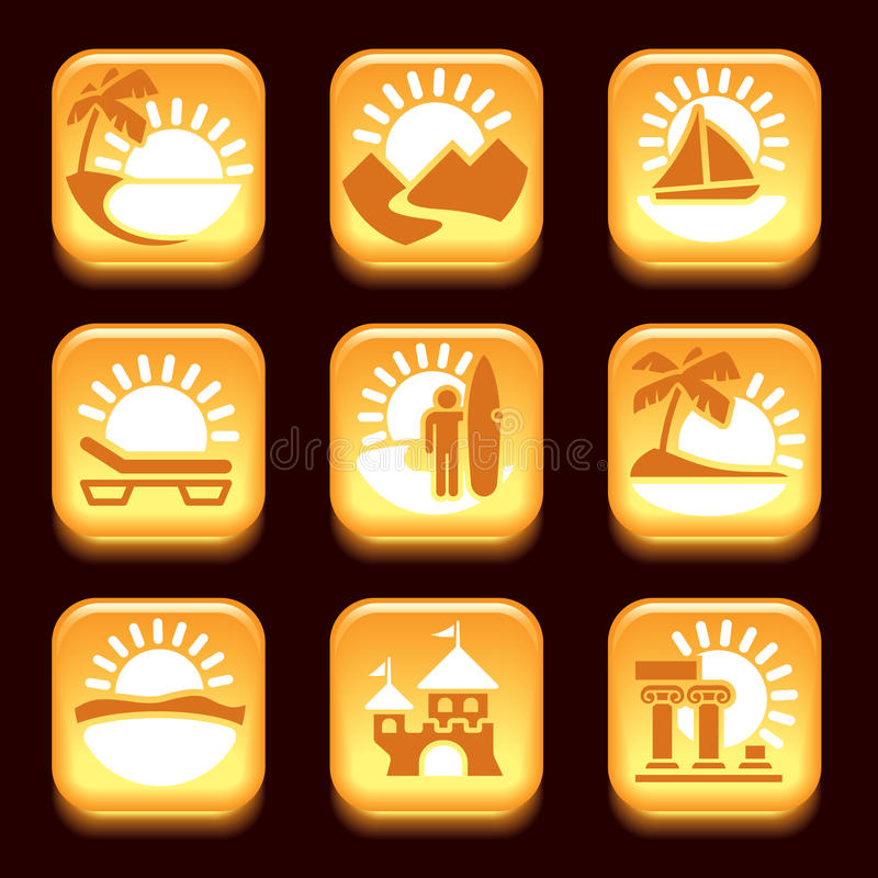 Icons Of Summer Activities Stock Photo