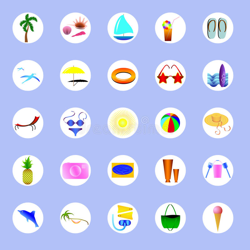 Icons about summer and summer holidays royalty free stock image