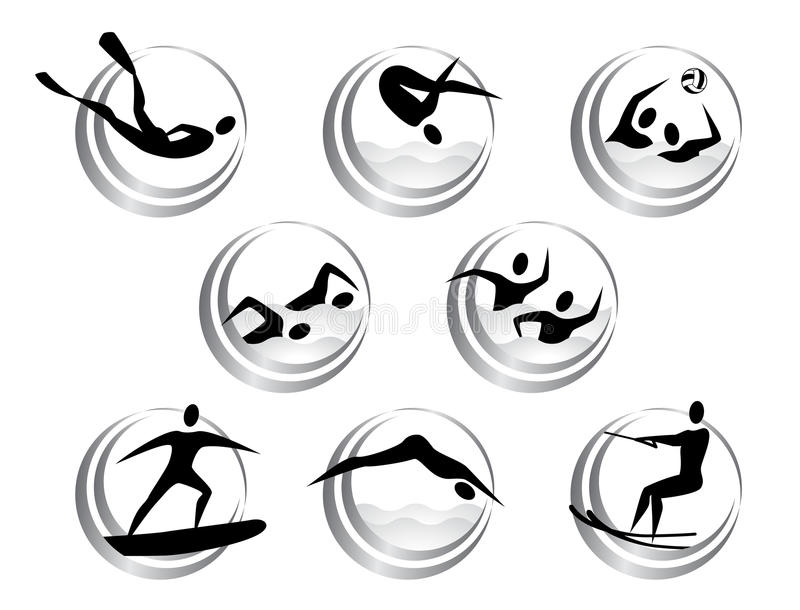 Icons of summer water sports vector illustration