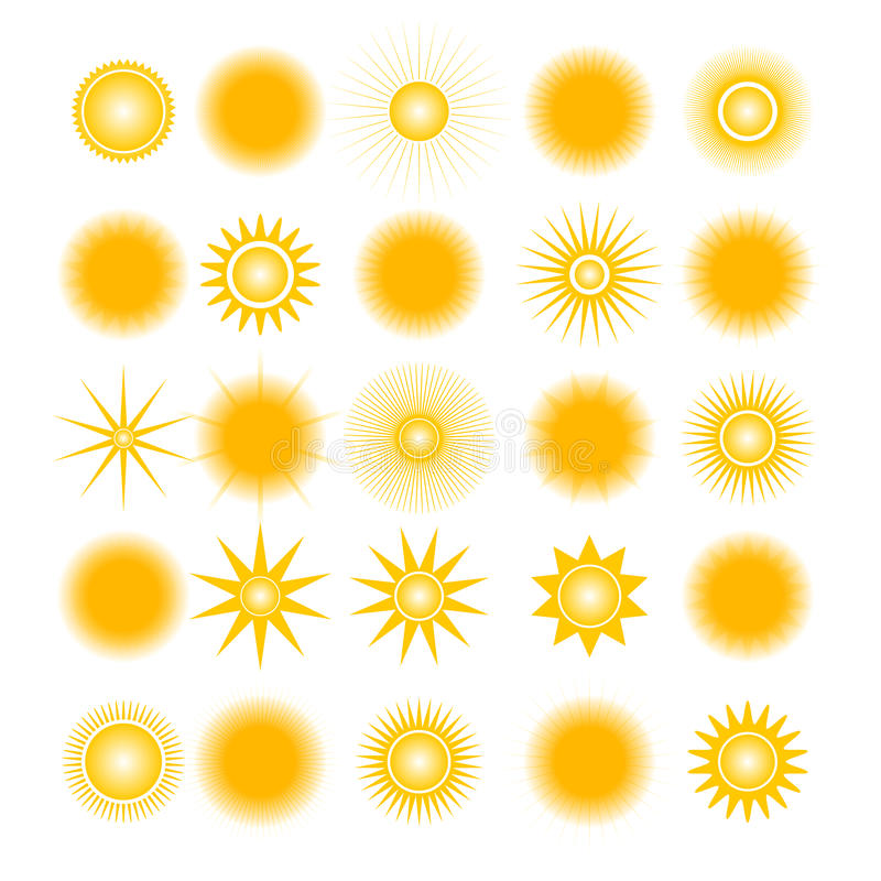 Icons of the sun, vector illustration. vector illustration