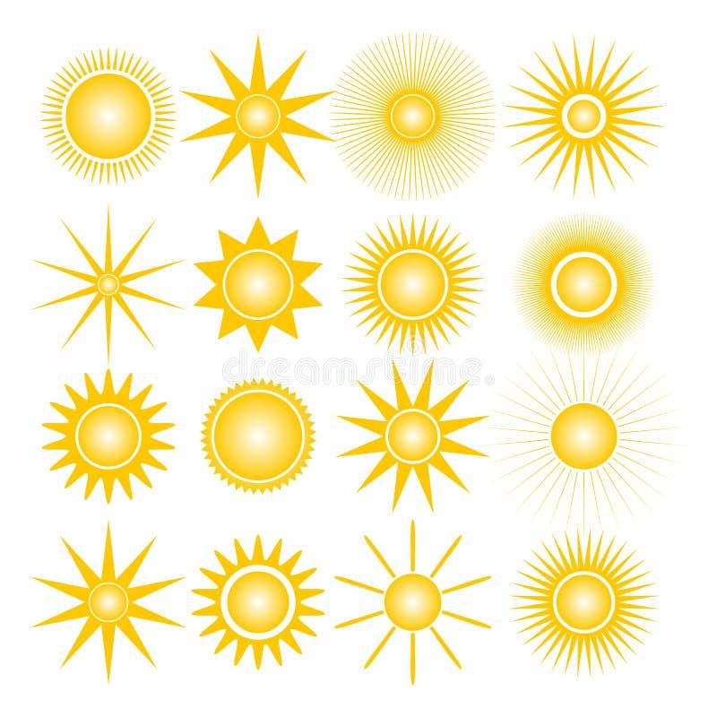 Icons of the sun, vector illustration. stock illustration