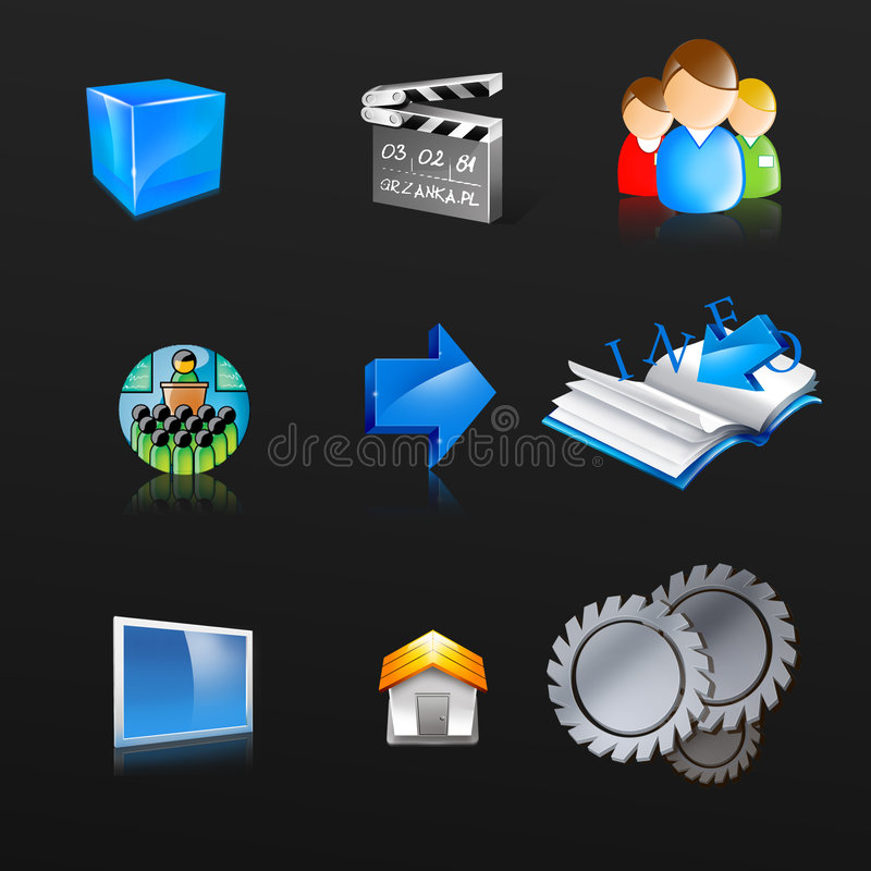 Icons, symbol, web button. Business icons/symbol for multimedia and websites royalty free illustration
