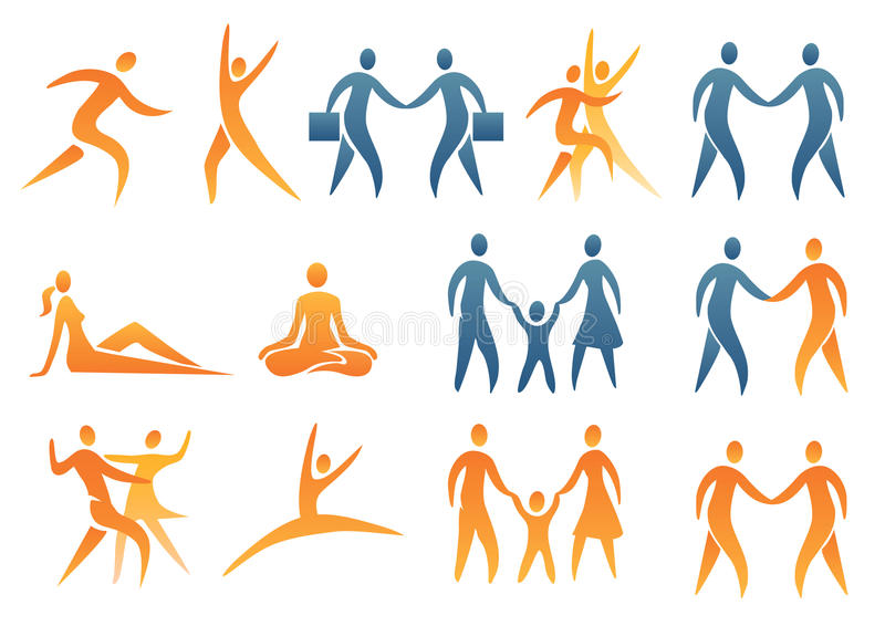 Icons_symbols_human_figures stock illustration