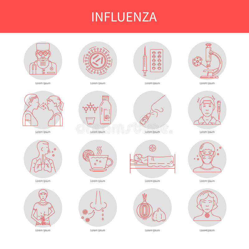 Icons symptoms and prevention of diseases. Flu Prevention linear set of icons. For the design of websites, banners, posters, brochures and other printed vector illustration